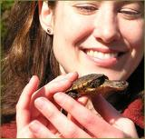Girl holding a turtle
