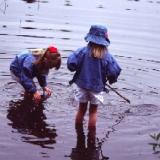 Girls in a lake