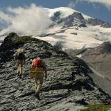 Two hikers on Mt. Rainier