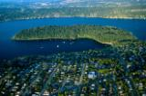 Aerial view of Seattle's Seward Park on  Bailey Peninsula in Lake Washington